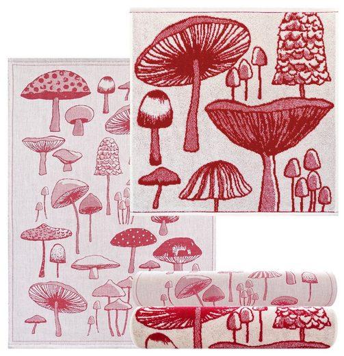 Lashuma Handtuch Set »Pilze« (4-tlg), Küchenhandtücher 2x 50x50, Geschirrtücher 2x 50x70