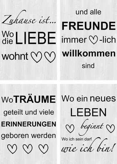 Artland Poster »Wo die Liebe wohnt 1-4«, Sprüche & Texte (4 Stück), Poster, Wandbild, Bild, Wandposter