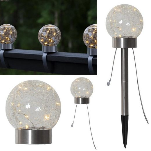 STAR TRADING LED Pollerleuchte »LED Solar Dekoleuchte Glory 3in1 Kugel Balkonleuchte Tischlampe Gartenstecker Sensor«