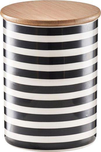 Zeller Present Vorratsdose »Stripes«, Keramik, Bambus, (Set, 2-tlg), Fassungsvermögen je Dose: ca. 900 ml