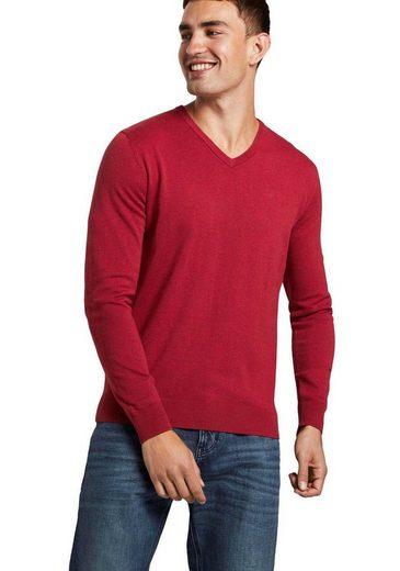 TOM TAILOR V-Ausschnitt-Pullover mit Logostickerei