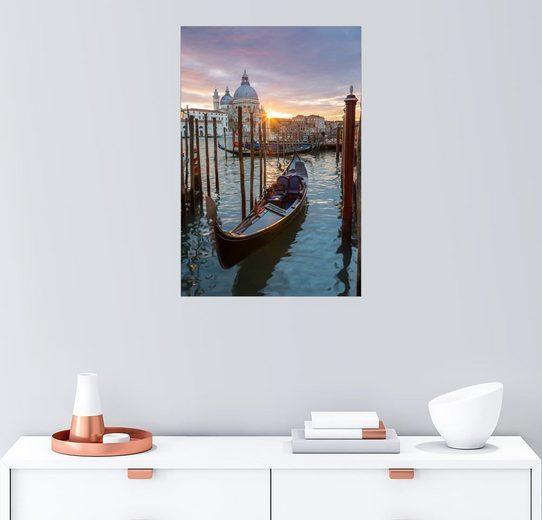 Posterlounge Wandbild, Premium-Poster Gondel und Basilika, Venedig