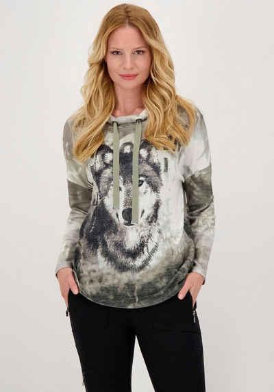 Monari Langarmshirt mit Stehkragen und Fotoprint mit Wolf - Motiv