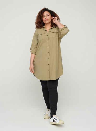 Zizzi Longshirt Große Größen Damen Hemdbluse mit Kragen, Taschen und Knöpfen
