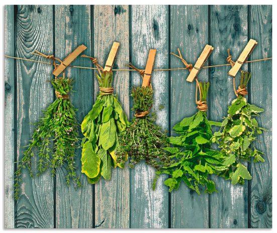 Artland Küchenrückwand »Kräuter mit Holzoptik«, (1-tlg)