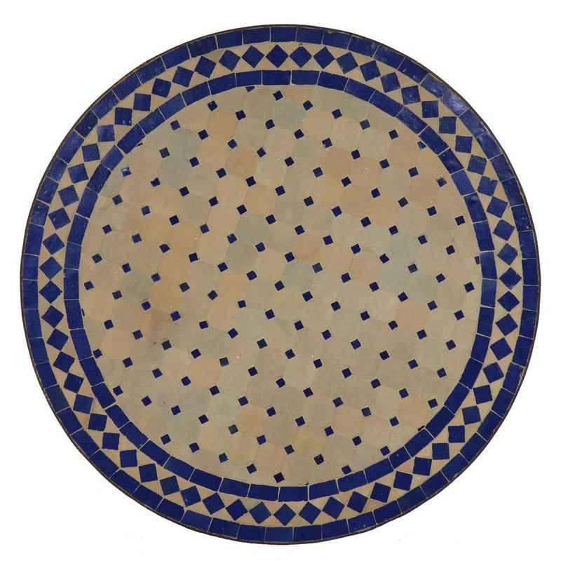 Casa Moro Gartentisch »Mediterraner Mosaiktisch blau Terrakotta Ø 100cm groß rund mit Eisengestell, Kunsthandwerk aus Marokko, Dekorativer Esstisch Balkontisch, MT2111«, Handmade