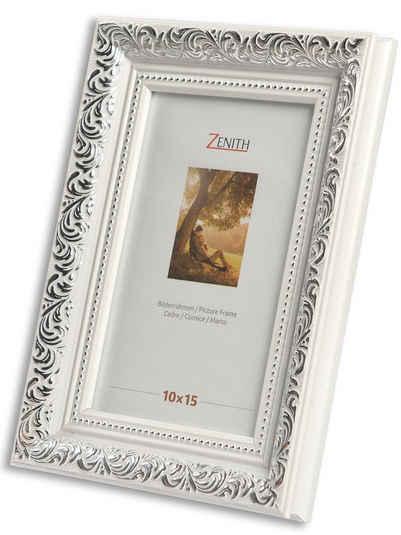 Victor (Zenith) Bilderrahmen »Rubens«, 10x15 cm, in weiss silber, Leiste: 30x20m, Barock, Echtglas, antiker Bilderrahmen