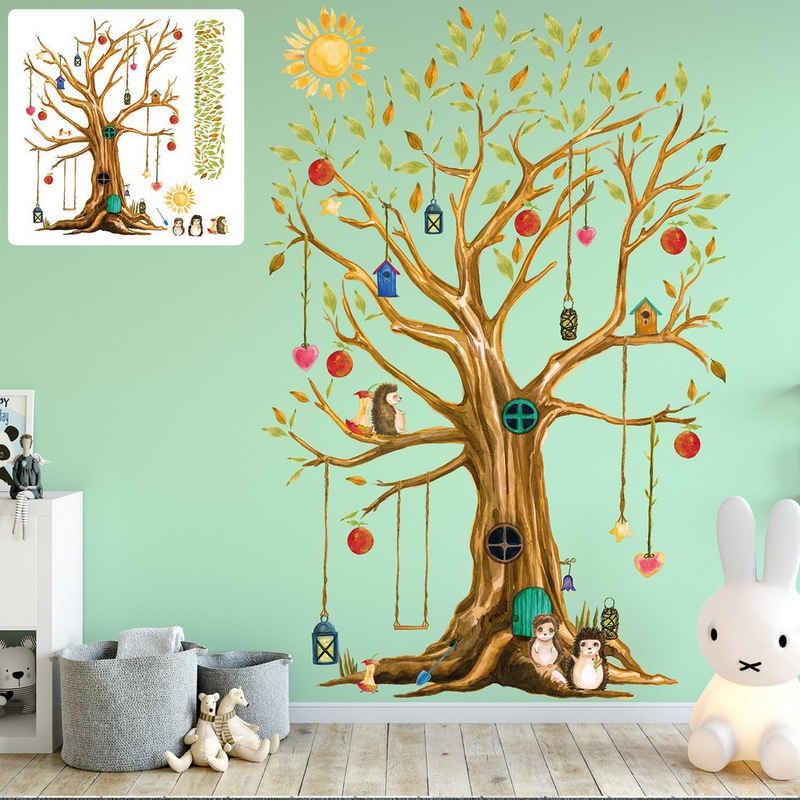 Sunnywall Wandtattoo »XXL Wandtattoo Baumhaus Baum Igel Sunnywall EXKLUSIV Set verschiedene Motive, Kinderzimmer Aufkleber bunt Wanddeko«
