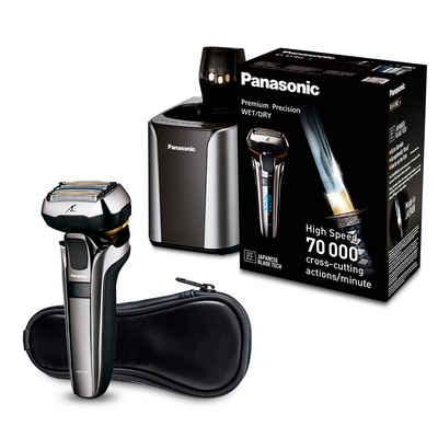 Panasonic Elektrorasierer ES-LV9Q-S803, Langhaartrimmer, mit ultraflexiblem 5D-Scherkopf, Nass- und Trockenrasierer mit Reinigungsstation