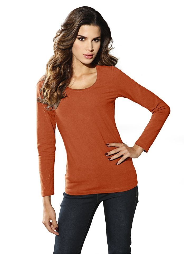 Rundhalsshirt in orange