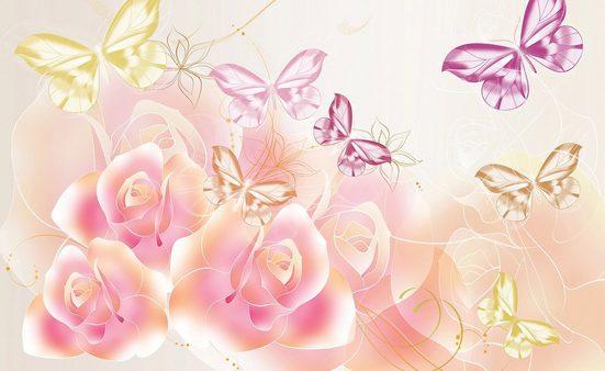 CONSALNET Fototapete »Schmetterlinge Blumen«, Papier, in verschiedenen Größen
