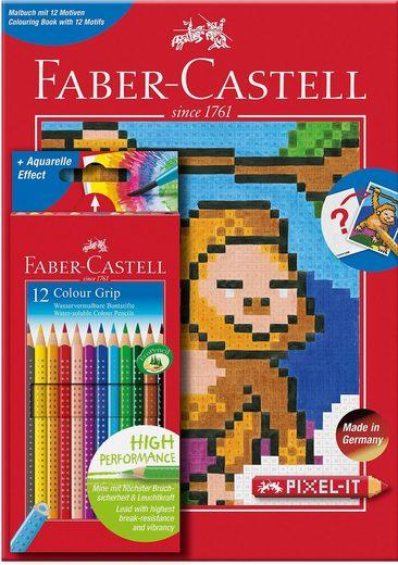 Faber-Castell Dekorierstift »Colour GRIP 12er Etui + Pixel-it Buch«