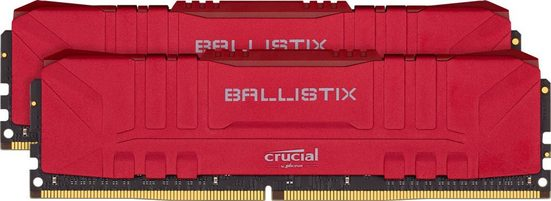 Crucial »Ballistix 16GB Kit (2 x 8GB) DDR4-3200 Desktop Gaming RAM (Rot)« PC-Arbeitsspeicher