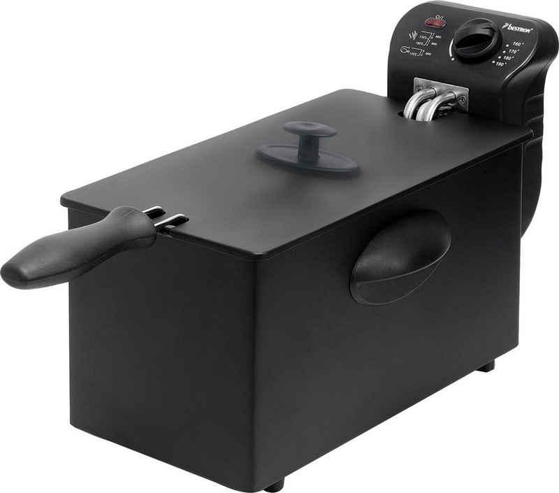 bestron Fritteuse AF357B, 2000 W, Fassungsvermögen ca. 1 kg, mit Kaltzonentechnologie, 3,5 Liter, mit Temperaturregler, spülmaschinengeeignet, schwarz