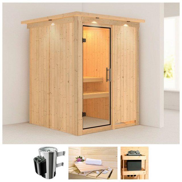 Saunen und Zubehör - KARIBU Sauna »Minja«, 165x165x202 cm, 3,6 kW Plug Play Ofen, int. Strg., Dachkranz  - Onlineshop OTTO