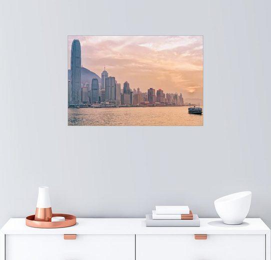 Posterlounge Wandbild, Fähre und Victoria Hafen in Hong Kong