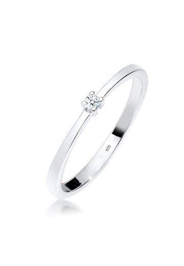 Diamore Diamantring »Verlobung Solitär Diamant (0.03 ct) 925 Silber«, Solitär-Ring