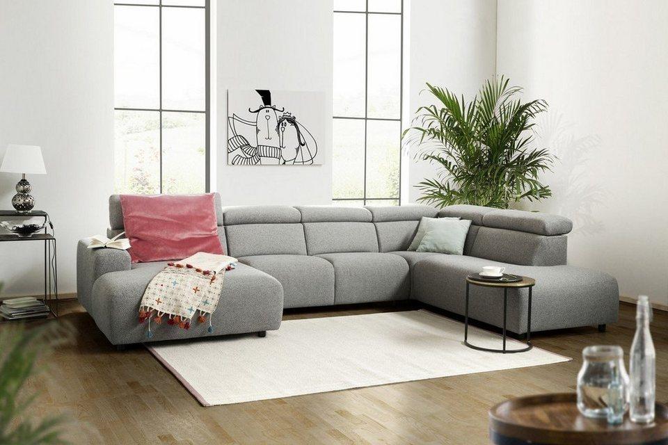 KAWOLA Sofa Wohnlandschaft U-Form Stoff grau Longchair ...