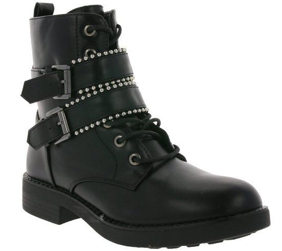 HaILY'S »HaILYS Stiefelette Schuhe angesagte Damen Schnür-Boots mit Reißverschluss Stiefel Schwarz« Schnürstiefel