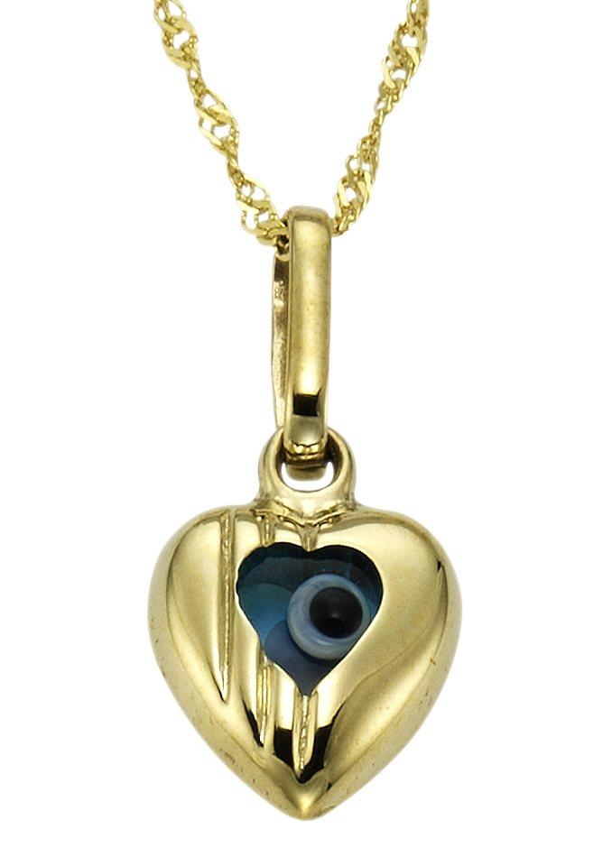 firetti Halsschmuck: Halskette mit Glaselement » Nazar Boncugu / Magisches Auge / Blaues Auge« in goldfarben