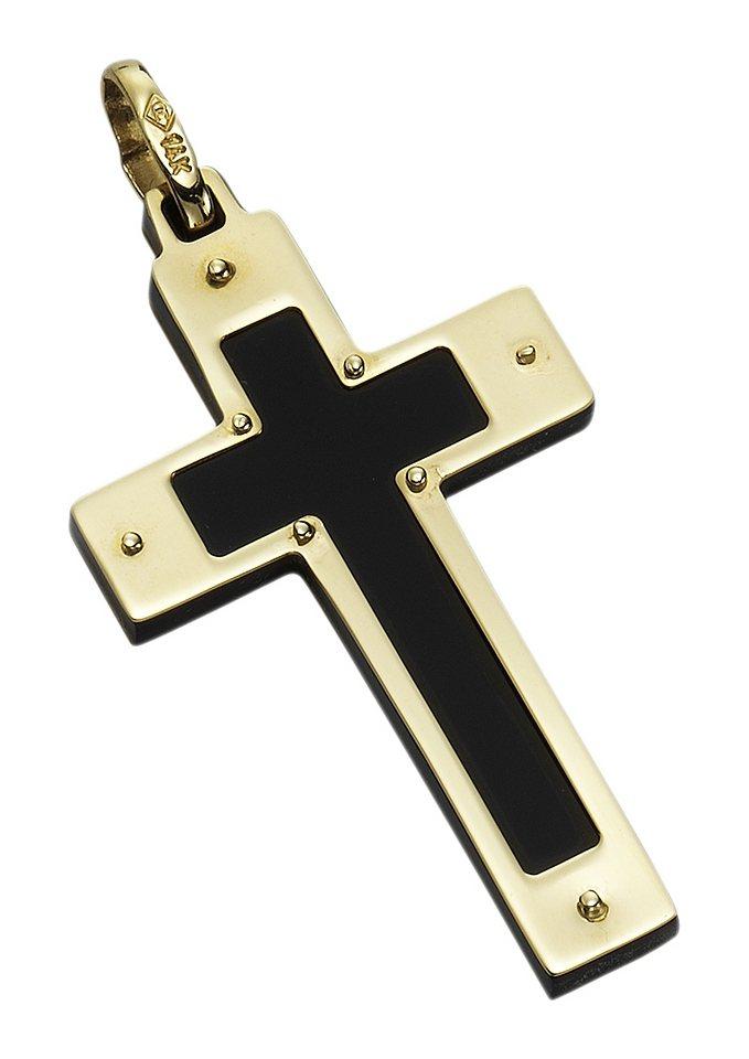 Halsschmuck: Anhänger ohne Kette »Kreuz« in goldfarben