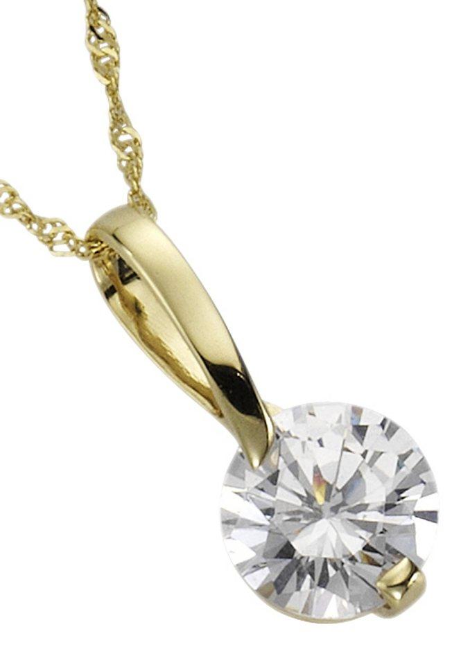 firetti Halsschmuck: Halskette in Singapurkettengliederung mit Zirkonia in goldfarben