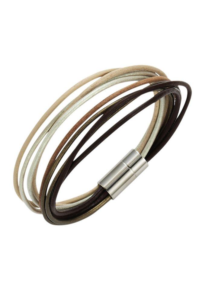 firetti Armschmuck: Armband aus Leder in mehrreihiger Optik mit Magnetverschluß in braun