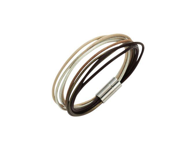firetti Armschmuck: Armband aus Leder in mehrreihiger Optik mit Magnetverschluß