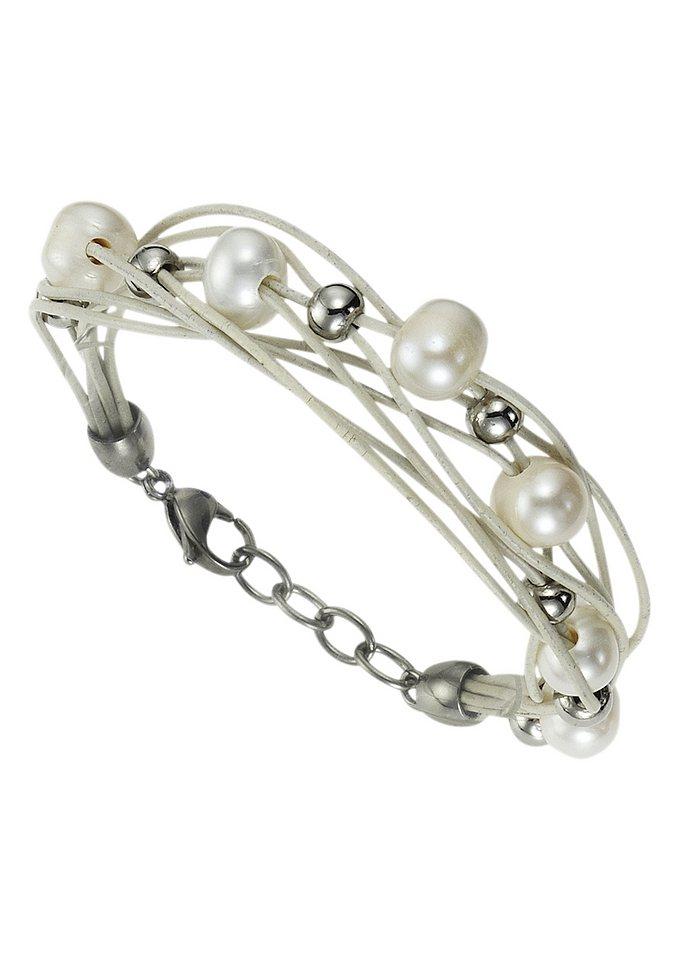 firetti Armschmuck: Armband aus Leder in mehrreihiger Optik mit Perlen und polierten Kugeln in weiß
