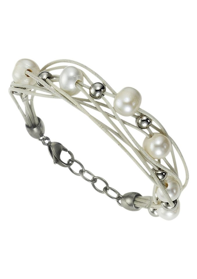firetti Armschmuck: Armband aus Leder in mehrreihiger Optik mit Perlen und polierten Kugeln