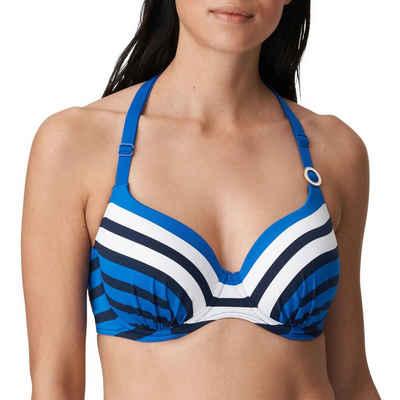 PrimaDonna Bügel-Bikini-Top »Polynesia Bikini Top mit Schale«, Elegante Raffung am Cup, Variable Träger, Maritimes Streifendesign