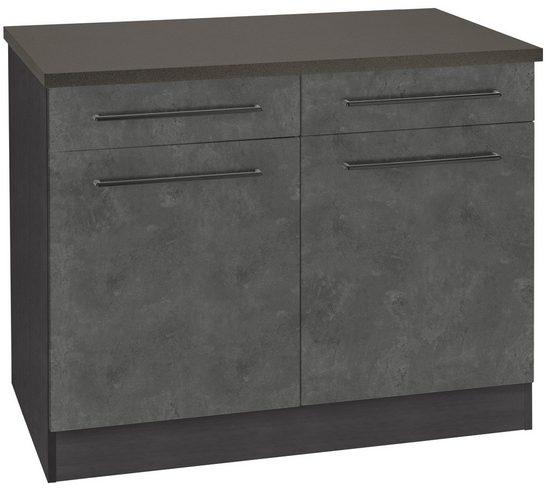HELD MÖBEL Unterschrank »Tulsa« 100 cm breit, 2 Schubkästen, 2 Türen, schwarzer Metallgriff, hochwertige MDF Front