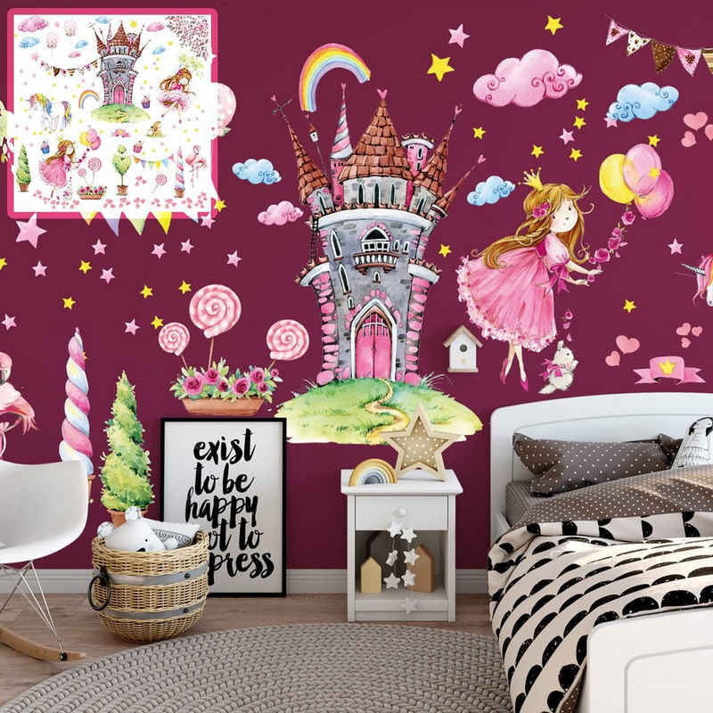 Sunnywall Wandtattoo »XXL Wandtattoo Prinzessin rosa princess Set verschiedene Motive, Kinderzimmer Aufkleber bunt Wanddeko«
