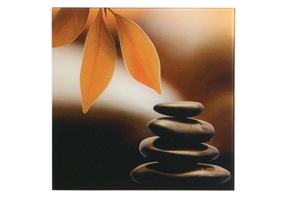 """Home affaire, Glasbild, """"Zen Stones"""", 30/30 cm in orange/braun"""