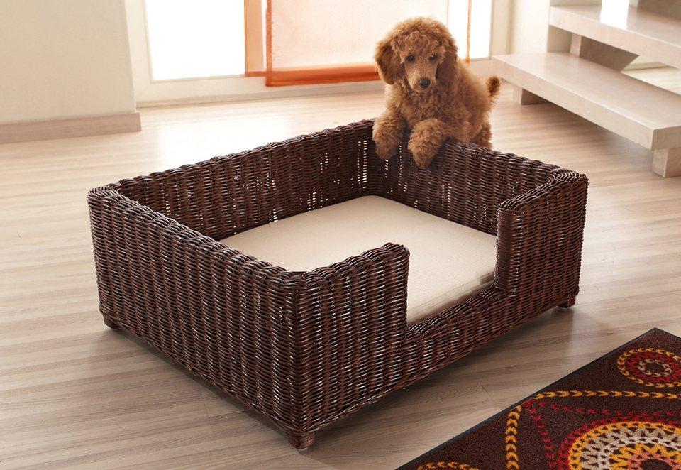 Hunde- / Katzenkorb mit Kissen, in 2 Farben und 2 Größen, Hofmann in braungebeizt