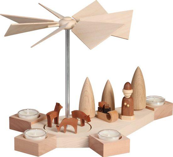 Seiffener Volkskunst Teelichthalter »16403, Weihnachtsmotiv«, Teelichtpyramide, Teelichthalter