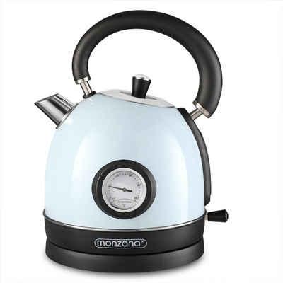 monzana Wasserkocher, 1.8 l, 2200 W, Kabellos BPA Frei Überhitzungsschutz Retro Design Edelstahl Küche Teekocher Kocher Blau