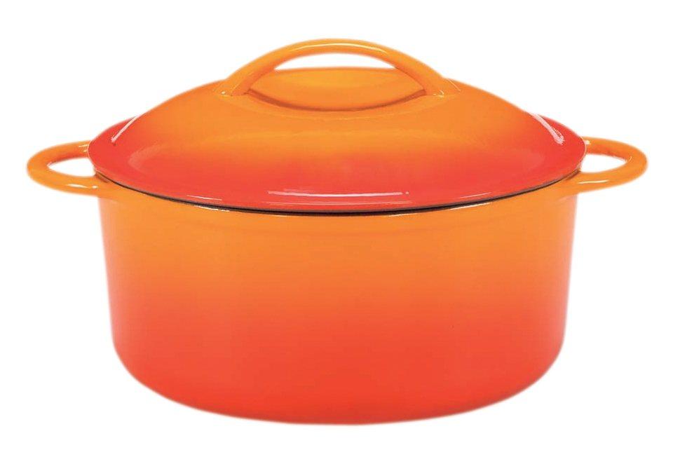 Fleischtopf aus Gusseisen mit Deckel , Krüger, »Cuisine« in orange