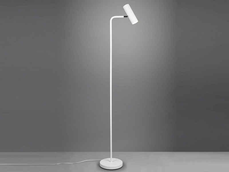 meineWunschleuchte LED Stehlampe, Steh-Leuchte schmal hoch zum lesen - LED stufenweise dimmbar - Weiß, Leselampe hinter Sofa, minimalistisch
