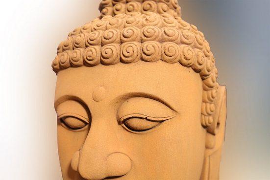 Lüllmann Buddhafigur »XL Buddha Kopf 65cm Skulptur Steinoptik Indoor-Outdoor Buddha« (1 Stück), Einmalig schöne große Buddha Skulptur aus Magnesia Kohlenstoffstein für den Indoor und Outdoorbereich