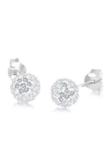 Elli Paar Ohrstecker »Elegant Kugel Swarovski® Kristalle 925 Silber«