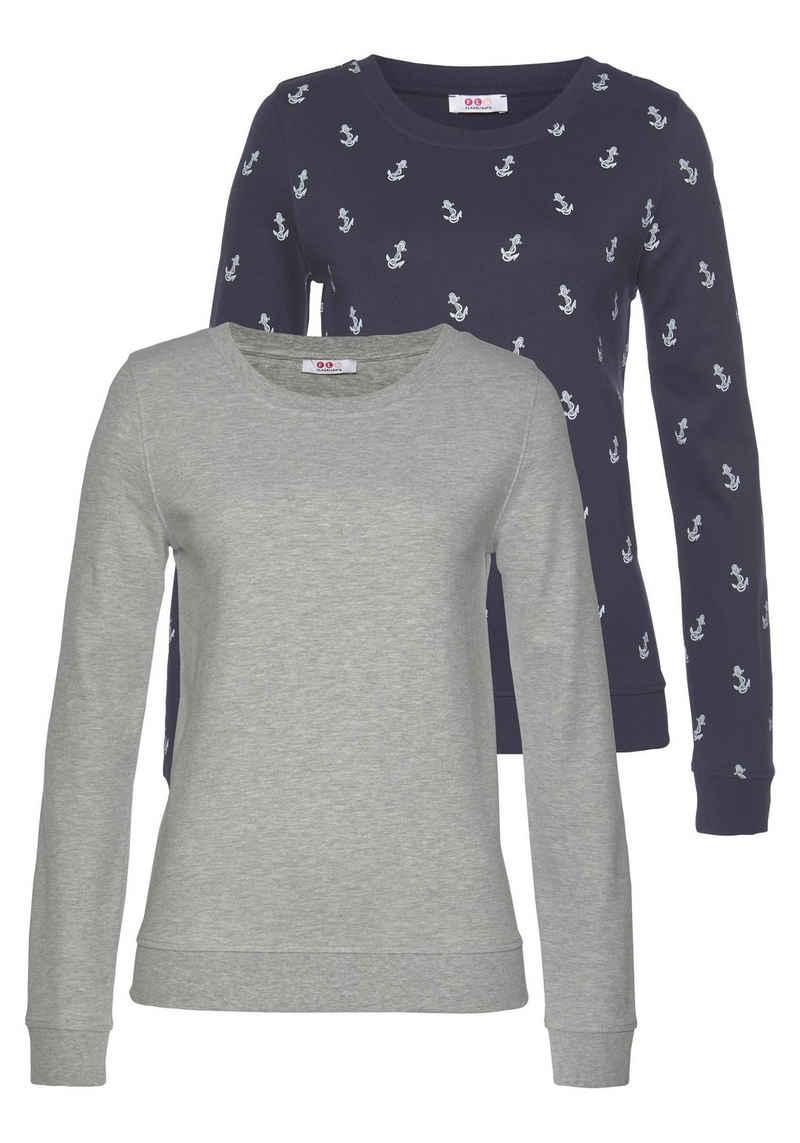 Flashlights Sweatshirt (Packung, 2er-Pack) mit trendigem Print und Unifarben
