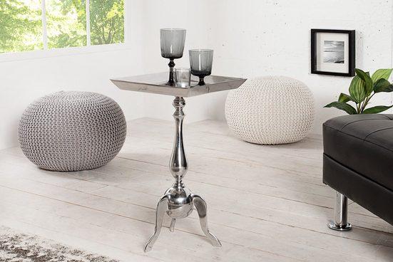 riess-ambiente Beistelltisch »TRAYFUL 35cm silber«, Metall · Tablett-Tisch · Orientalischer Stil · Handarbeit