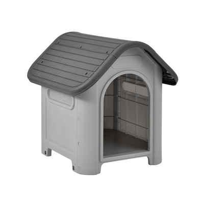 en.casa Hundehütte, »Bello« Hundehaus mit Dachluke Unterschlupf 75x59x66cm Grau