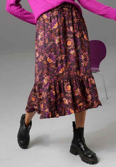 Aniston CASUAL Volantrock mit farbharmonischem Blumendruck - NEUE KOLLEKTION