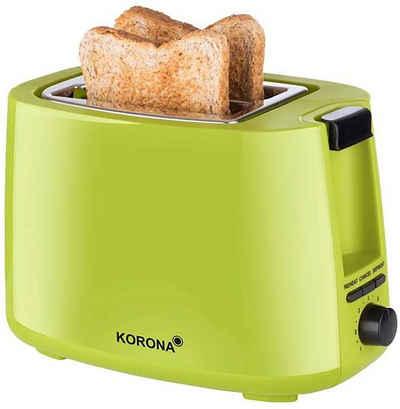 KORONA Toaster 2-Scheiben-Toaster Classic, 2 kurze Schlitze, für 2 Scheiben, 750 W, Doppelschlitz-Toaster, 2 kurze Schlitze, für 2 Scheiben, 750 W, mit Brötchenaufsatz, Krümelschublade, stufenlos einstellbar, Auftaufunktion, Aufwärmfunktion, Abschaltautomatik, Kabelaufwicklung, Farbe: Grün