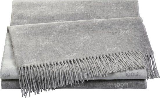 Plaid »FINE-SIGNATURE«, Joop!, Weiches Plaid aus hochwertigen Kunstfasern mit geometrischem Muster und Fransen-Konfektion
