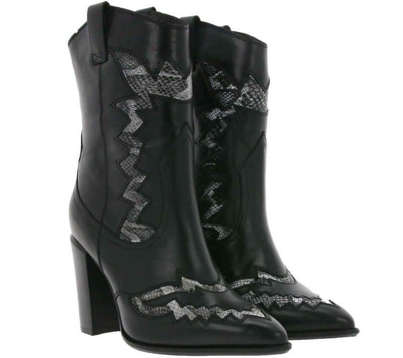Bronx »BRONX Echtleder-Stiefel moderene Damen Stiefeletten mit Schlangen-Muster Boots Schwarz« Stiefel