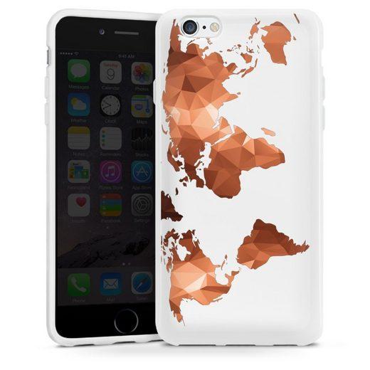 DeinDesign Handyhülle »Worldmap Triangle ohne Hintergrund« Apple iPhone 6, Hülle Weltkarte Landkarte Bronze