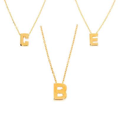 Stella-Jewellery Kette mit Anhänger »585er Gold Halskette mit Buchstaben Anhänger« (inkl. Etui), Buchstaben Anhänger mit Kette